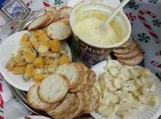 Brie, Herbed Brie, Huntsman, and Goat Gouda